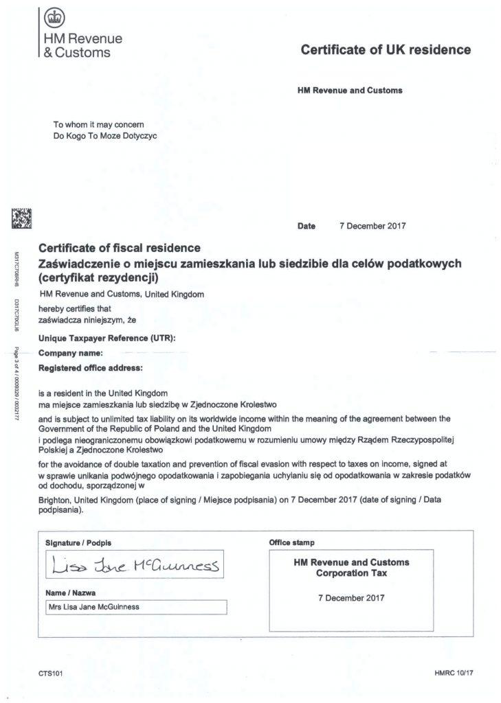 Certyfikat Rezydencji Podatkowej. Fot. adfconsulting.co.uk